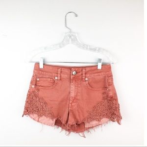 American eagle high waisted pink jean shorts